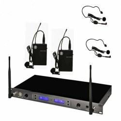 Topp Pro - 100 Kanal Çift Anten Dijital Alıcı Çift Yaka - Headset Ve Entruman Tipi Telsiz Mikrofon