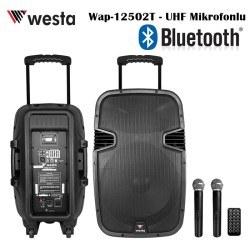 Westa - 12' Bataryalı 250Watt Aktif Kabin Hoparlör (2xUHF Mikrofon)