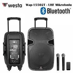 Westa - 15' Bataryalı Aktif Kabin Hoparlör (2xUHF Mikrofon)
