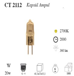 Cata - Cata / 20w Halojen Kapsül Ampul (Gün Işığı) / CT-2112