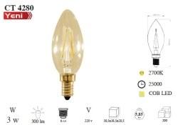 Cata - Cata / 3w Rustik LED Buji Ampul (Amber) / CT-4280
