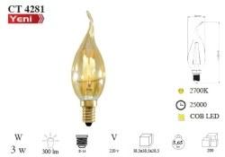 Cata - Cata / 3w Rustik LED Kıvrık Ampul (Amber) / CT-4281