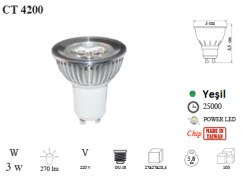Cata - Cata / 3x1w Power Led Ampul GU10 Duylu Yeşil / CT-4200Y