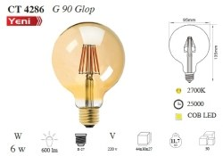 Cata - Cata / 6w Rustik LED G90 Glop Ampul (Amber) / CT-4286