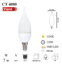 Cata - Cata / 7w LED'li Kıvrık Buji Ampul (Gün Işığı) / CT-4080G