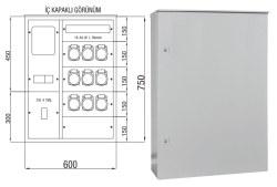 Çetinkaya - Çetinkaya / 1 Trifaze Sayaç + 3 Monofaze, 6 Trifaze Priz + 16 Sigorta + 250A Kompakt Şalter Duvar Tipi Şantiye Panosu / ÇP 116 B