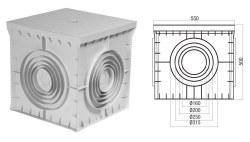 Çetinkaya -  Çetinkaya / 55x55x50 Termoplastik 4 Çıkışlı Kapaklı Yeraltı Buatı / ÇP 555550