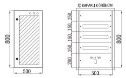 Çetinkaya - Çetinkaya / 60 Adet Sigorta + 125A Kompakt Şalter Cam Kapaklı Sıvaaltı Dağıtım Panosu / ÇP 824 C