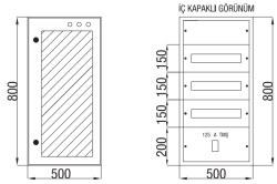 Çetinkaya - Çetinkaya / 60 Adet Sigorta + 125A Kompakt Şalter Cam Kapaklı Sıvaüstü Dağıtım Panosu / ÇP 804 C