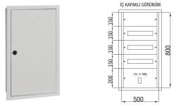 Çetinkaya - Çetinkaya / 60 Adet Sigorta + 125A Kompakt Şalter Sıvaaltı Sigorta Dağıtım Panosu / ÇP 824
