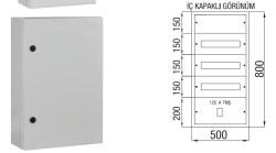 Çetinkaya - Çetinkaya / 60 Adet Sigorta + 125A Kompakt Şalter Sıvaüstü Dağıtım Panosu / ÇP 804