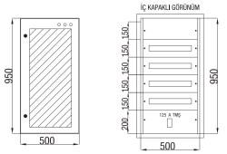 Çetinkaya - Çetinkaya / 80 Adet Sigorta+ 125A Kompakt Şalter Cam Kapaklı Sıvaaltı Dağıtım Panosu / ÇP 825 C