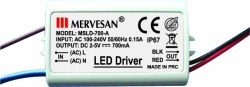 Mervesan - Mervesan /2-5 Vdc 700ma 4.2w Sabit Akım Led Drıver Ip67 /Msd-700