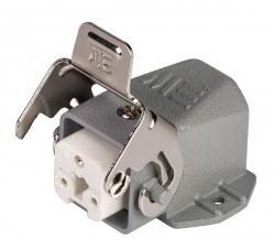 Mete Enerji - Mete Enerji 3x10a Eğik Makine Prizi Kablo Geçişli Metal Mandallı (Rakorsuz)/ 403255s