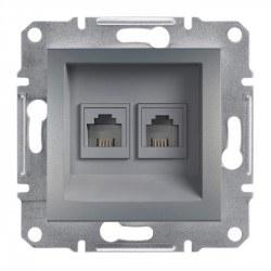 Schneider Electric - Schneider Asfora Çelik 2 Çıkışlı Telefon Prizi / Eph4200162
