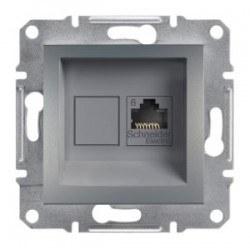 Schneider Electric - Schneider Asfora Çelik Rj45 Tek Çıkışlı Telefon Prizi / Eph4700162
