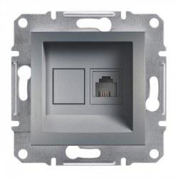 Schneider Electric - Schneider Asfora Çelik Tek Çıkışlı Telefon Prizi / Eph4100162