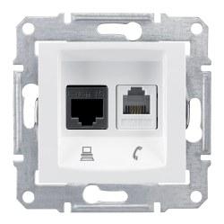 Schneider Electric - Schneider / Sedna Beyaz Cat6 Rj45 Data+Rj11 Telefon Prizi / SDN5200121
