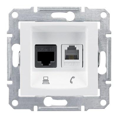 Schneider / Sedna Beyaz Cat6 Rj45 Data+Rj11 Telefon Prizi / SDN5200121