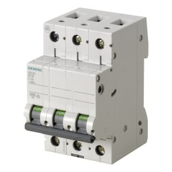 Siemens - 3a; 3 Fazlı; 70 Mm; Anahtarlı Otomatik Sigorta; 6ka; C Tipi; Yavaş Karakterli